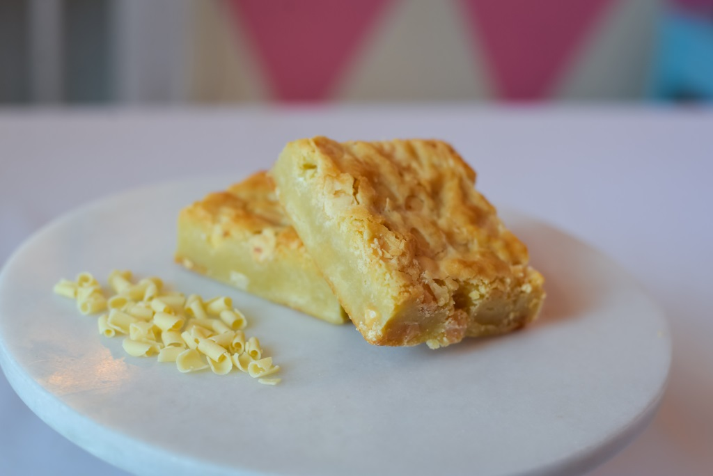 A twist on tradition! White chocolate brownie full of white chocolate chips that melt in your mouth!