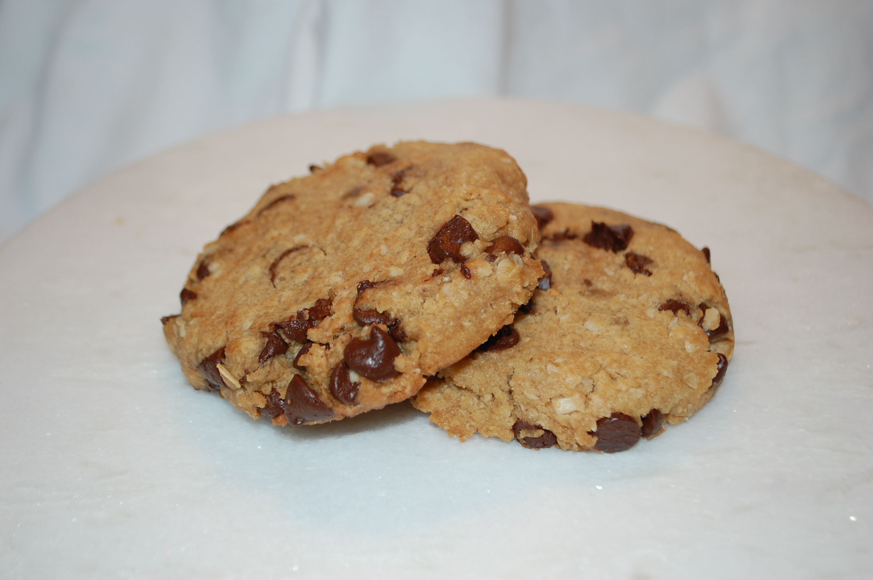 Delicious vegan option made with peanut butter, oatmeal and vegan chocolate chips.